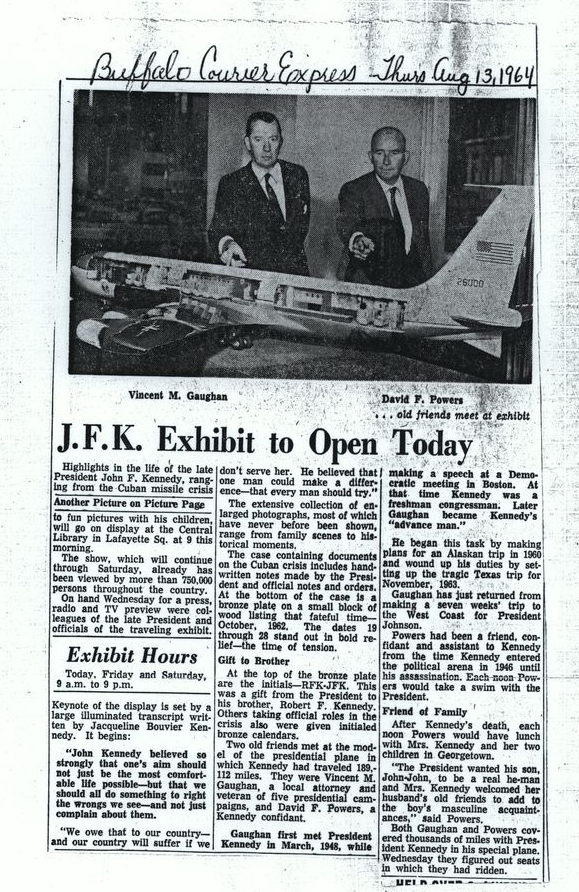 "DFPPP-018-006-p0014. Image of a newspaper article dated August 13 1964, which notes ""The display is set by a large illuminated transcript written by Jacqueline Bouvier Kennedy. It begins: ' John Kennedy believed so strongly that one's aim should not just be the most comfortable life possible but that we should all do something to right the wrongs we see - and not just complain about them. We owe that to our country - and our country will suffer if we don't serve her. He believed that one man could make a difference - that every man should try."""